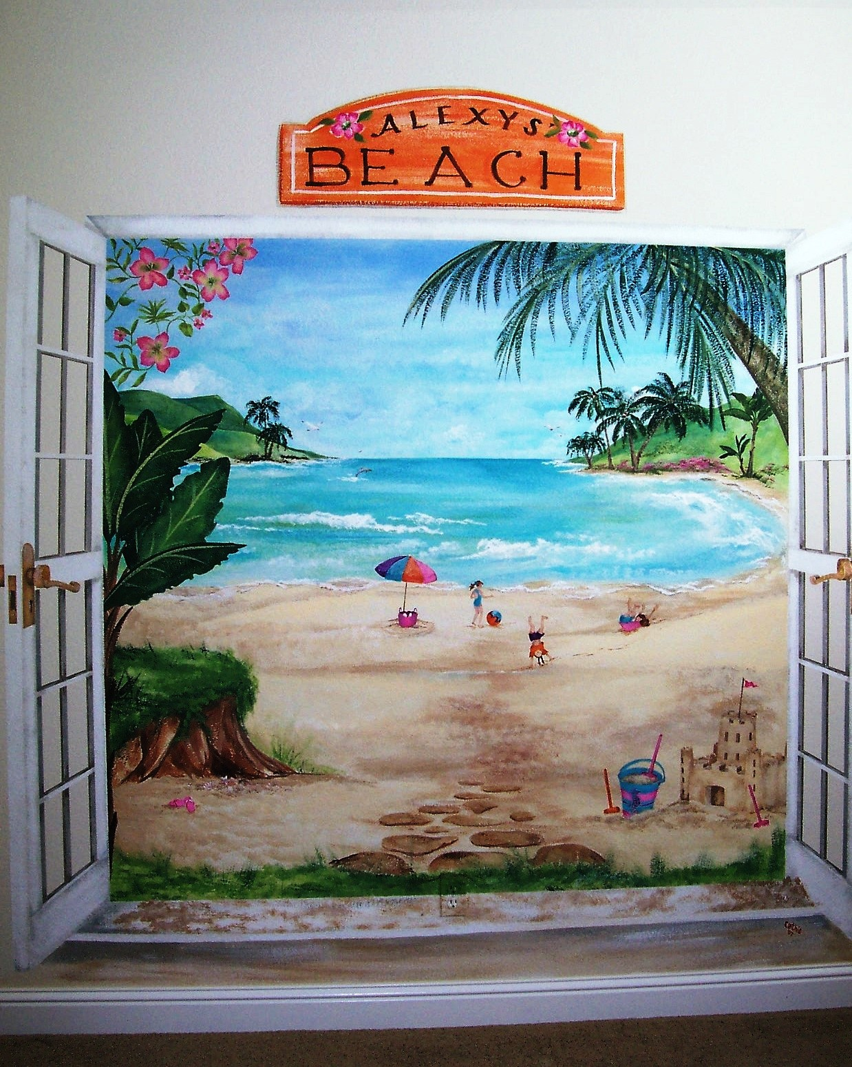 childrens painted wall murals cathie s murals childrens murals beach painted french doors open to